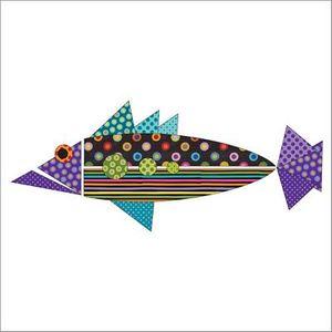 Urban Elementz UEA1192 Origami Fish Dotz Purple- Applique