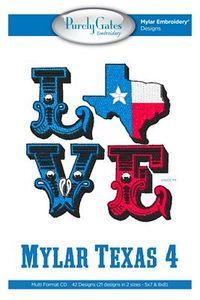 93382: Purely Gates PG4206 Mylar Love Texas 4 Machine Embroidery Design CD