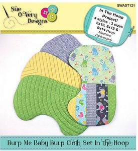 Sue O'Very Designs SWAST121 Burp Me Baby Burp Cloth Set ITH