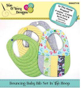 Sue O'Very Designs SWAST119 Bouncing BabyBib Set ITH Machine Embroidery Design