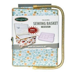 Sullivans SUL70037 Folding Sewing Basket Floral Blue and Yellow