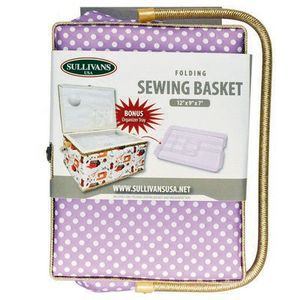 Sullivans SUL70033 Folding Sewing Basket Polka Dot Purple and White