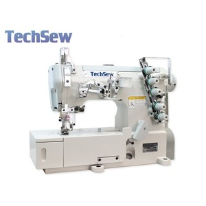 93444: Techsew T350 Flatbed Coverstitch Industrial Sewing Machine, Power Stand, Servo Motor, Lamp