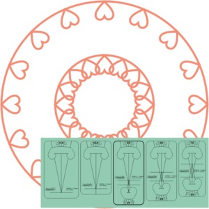 """93678: Sew Steady WT-SOH1S5 Westalee Ruler Templates: Design Strand of Hearts 1/2"""" 5pc Set"""