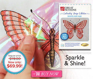 94067: DIME Sparkle & Shine CMC-BMM1 Butterfly Mylar Magic 20 Embroidery Designs CD