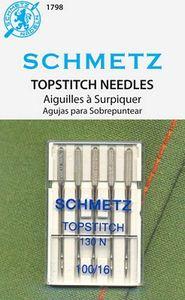 59096: Schmetz S-1798 Topstitch Needles Oversized Eye, 5pk sz 16/100