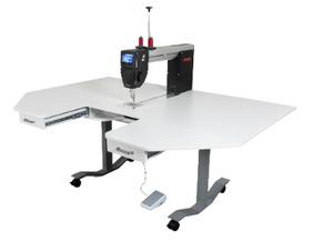 Bernina Q20, Free Motion, Quilting Machine, Swiss, plus Rauschenberger German, Adjustable Height, Air Lift Table, RMFLONGARM, for Sit Down, Stand Up Operation