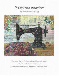 Fiberworks FWLHFEATH Featherweight Sewing Machine Collage Pattern, for Size 26x32in Quilt by Laura Heine