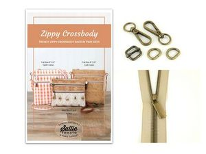 Sallie Tomato STPOM4, Zippy Crossbody Pattern and Kit, Hardware Kit, #5 Zippers by the Yard, Beige Tape with Antique Coil