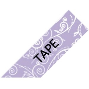 "Brother TZEMPPF31, P-Touch Embellish Black on Purple Floral Pattern Tape 12mm (~1/2"") x 4m"