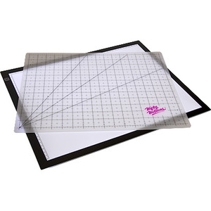 Nifty Notions NN4232, Back Lit Glass Lightpad and Combo Translucent Gridded Poly Cutting Mat 11 in x 17 in
