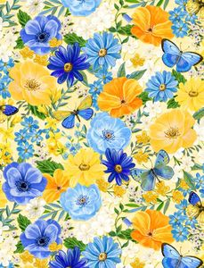 Wilmington Prints 1406 28131 545 Madison Large Floral Yellow