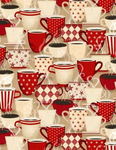 Wilmington Prints 1828 82588 223 Coffee Time Packed Cups Tan
