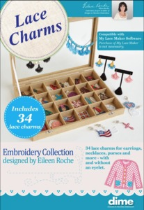 95405: DIME Dime-LC 34 Lace Charms for Earrings, Templates, Target Stickers, Embroidery CD