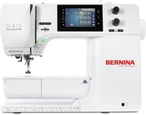 95408: Bernina B475 QE Quilters Edition Computer Sewing Machine 900SPM, Color Touch Screen, Jumbo Bobbin 70% More Thread, Full Shank Feet, Patchwork #37