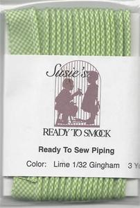 Susie's Ready to Smock Gingham Piping Lime S816