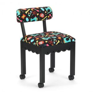 95563: Arrow 8011/8013/8016 Wood Sewing Chair, Underseat Storage, Riley Blake Buttons Fabric, Black, White, or