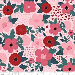 Riley Blake C7621-PINK Hello Sweetheart Floral Pink by yard
