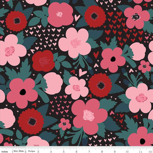 Riley Blake C7621-BLACK Hello Sweetheart Floral Black by yard