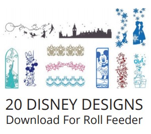 95783: Brother 20 Disney Designs Download for 6' Long Vinyl Roll Feeder on ScanNCut SDX230D