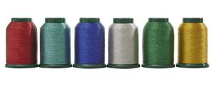 95798: DIME Exquisite MK001 6-Spool Kit, King Star Embroidery Thread Metallic Variety Pack, 1100Yd 40wt Poly Japan: Green, Red, Blue, Aqua, Silver, Gold