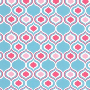 Fabric Finders 1877 Ogee Fabric: Coral and Turquoise by the yard
