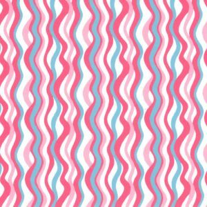 Fabric Finders 1878 Wave Fabric: Coral and Turquoise by the yard