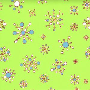 Fabric Finders 1866 Snowflake on Lime by the yard