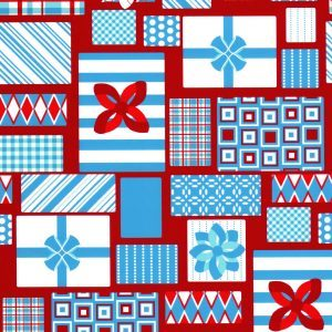 Fabric Finders 1851 Turquoise and Red Presents by the yard