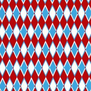 Fabric Finders 1853 Diamond Print Fabric – Turquoise and Red by the yard