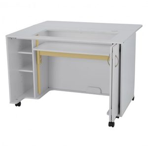 95871: Arrow Mod Electric Lift Sewing Machine Cabinet White, 3 Position Platform