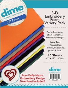 96030: DIME 3-D Embroidery Foam Variety Pack + Free Embroidery Design