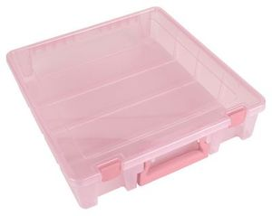 "ArtBin 6955RK Super Satchel One Large Compartment 15x14x3.5"" Blush for Fabric Blocks, Patterns, Fat Quarters, Pinwheels"