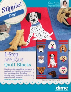 Designs in Machine Embroidery Stipple! Dogs 1-Step Applique Quilt Blocks, PDF with instructions