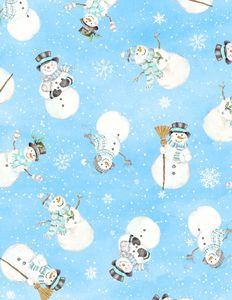 Wilmington Prints 1810 42455 419 Snow Valley Tossed Snowmen Dk. Blue