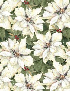 Wilmington Prints 3023 39639 175 Cardinal Noel Poinsettias White/Cream