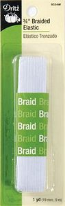96415: Dritz DE9332W 1/2in White Braided Elastic 1-1/2yd 4/box