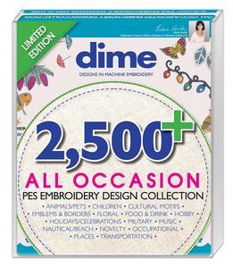 96491: DIME #AOUSB 2500 All Occasion Designs in PES Format Embroidery Collection on USB