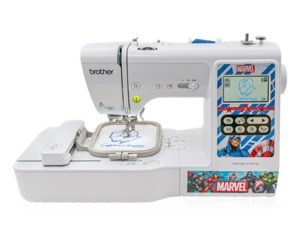 96760: Brother LB5000M Marvel Computer 103 Stitch Sewing +4x4in Embroidery Machine USB, 80 Embroidery Designs, 9 Fonts, 4 Interchangeable Faceplates, 14Lbs
