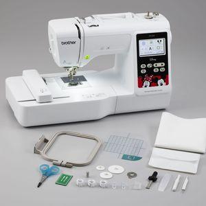96761: Brother PE550D 4x4 Embroidery Machine USB, 125 Designs, 45 Disney, 9 Fonts, 120 Borders, Color LCD Touch Screen Edit,  Quick Set Bobbin, 4 Faceplates