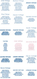 DIME Inspirations Font Collection V5-Vintage Fonts for Embroidery - Digital Delivery