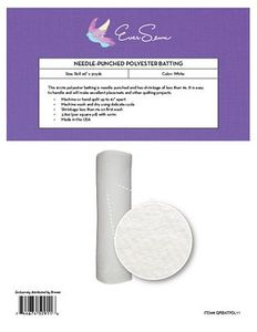 """Eversewn Needle-Punched Poly Batting-Roll 96"""" x 30yds,White Bolt"""