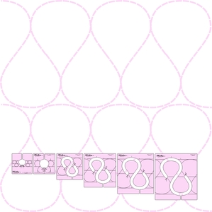 """6pc Quilters Ribbon Candy Template Set by Donna McCauley—Includes 1"""" - 6"""" stitched designs"""