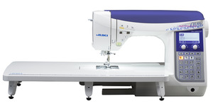 Juki DX1500QVP Replaces HZL-F400 Exceed 456 Stitch Computer Sewing Quilting Machine with Added Wide Extension Work Table 0189684000183, 012545461239, hzlf400, hzl f400, Juki HZL-F400 Exceed  Demo,  157 Stitch FullSize Computer Sewing Machine, 16x1-Step buttonholes, 3 Font, Box Feed, Knee Lever,