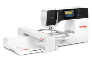 "Bernina B590E, Trade Next Gen 500 Stitch Sewing Machine witht Embroidery Module, 8.5""Arm, 6.5x10.5"" Midi Hoop, 9mm Stitch Width, 8 Fonts, BSR, 110/240V"