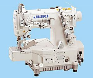 Juki MF-7923 U11 B64 UT57 Air Foot Lift Cylinder Bed Top Bottom 3Needle Coverstitch Machine, Power Stand, Servo Motor, White Table Top Replace MF7823