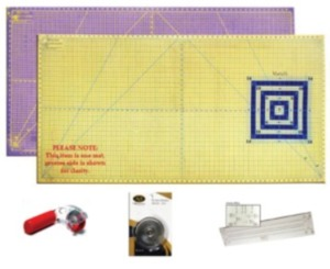 """Virtual Event Special: XL Mat Bundle with 30"""" x 60"""" Mat, Rotary Cutter, Replacement Blades, Binding Ruler"""