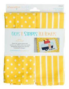 Kimberbell KDKB224 Dots & Stripes Tea Towels - Lemon