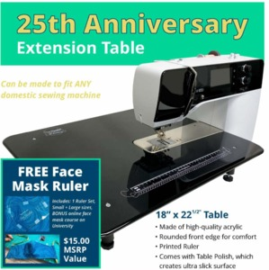 """Sew Steady 25th Anniversary Extension Table 18"""" x 22.5"""" with Free Face Mask Ruler"""