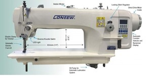 "98474: Consew 2206RB-14-7DD Direct Drive Sewing Machine 14"" Arm, Drop Feed, Needle Feed, Walking Feet, Auto Thread Trimming, Auto Foot Lift, Oil Pump, Stand"